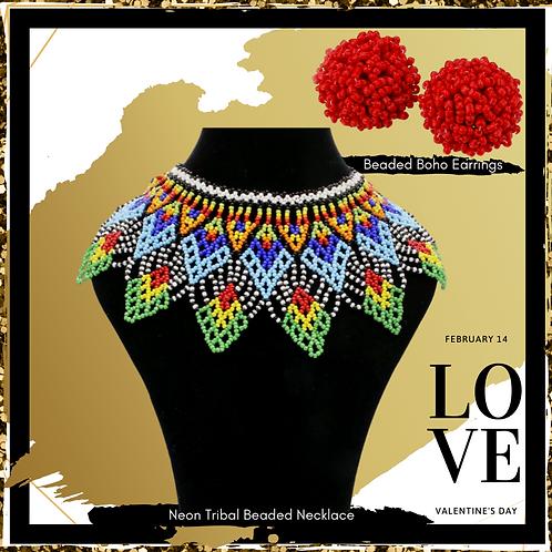 """""""Kali"""" Beaded Necklace & Earrings Set"""