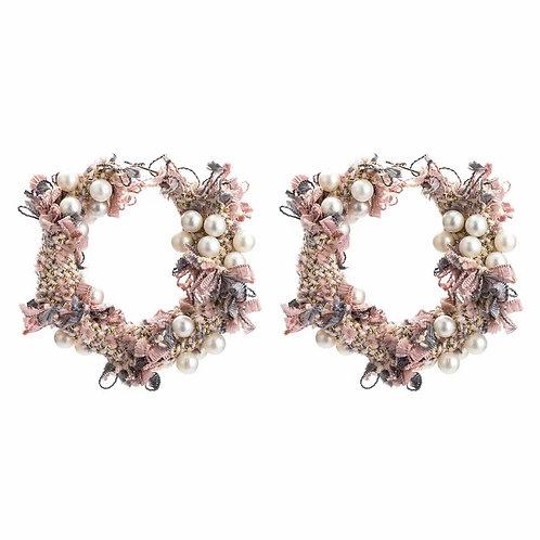 """""""Coco"""" Pearls & Pink Fabric Hoop Earrings"""