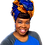 "Thumbnail: ""Sunshine"" Royal Blue, Orange, and White African Print Head Wrap"
