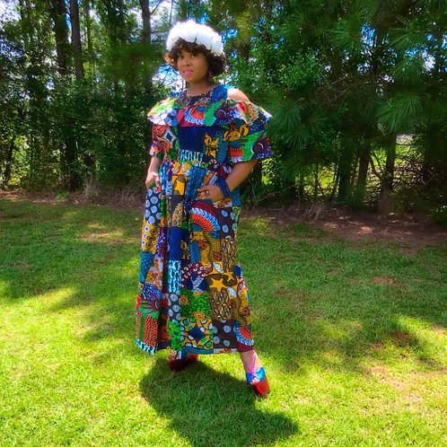 """Patchwork"" Ankara Full Length Dress"