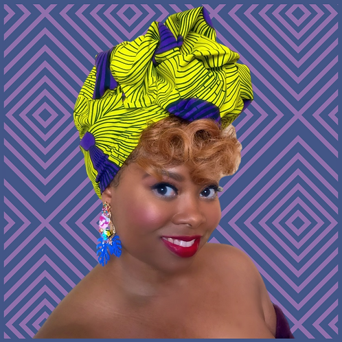 Purple & Lime African Print Head Wrap