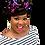 "Thumbnail: ""Swirl"" Black, Purple, Teal Stretch Sequin Head Wrap"