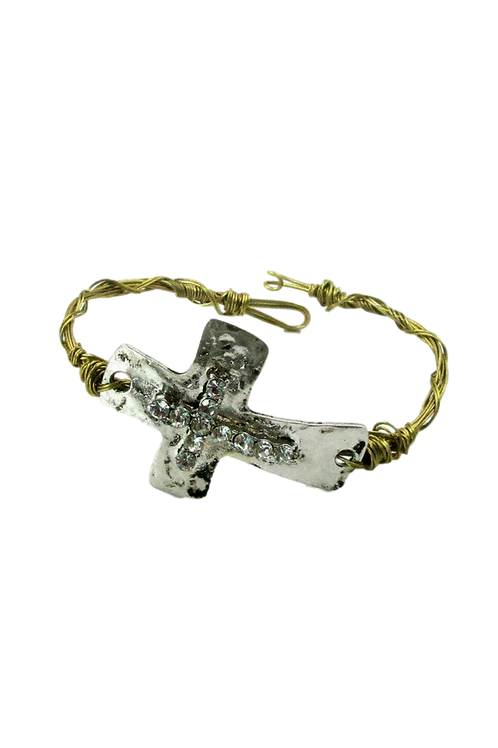 """Rugged Cross"" Mixed Plated Bracelet"