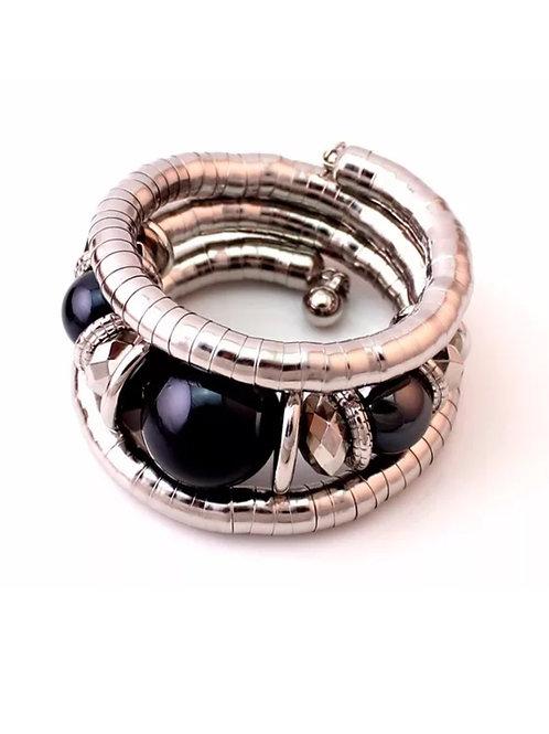 """Black On Silver"" Bangle Bracelet"