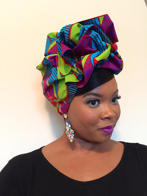 """Merry & Bright"" African Print Head Wrap"