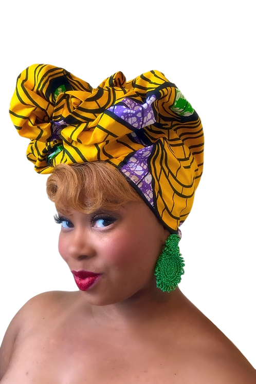 """African Print Headwrap in Royal Tigress"