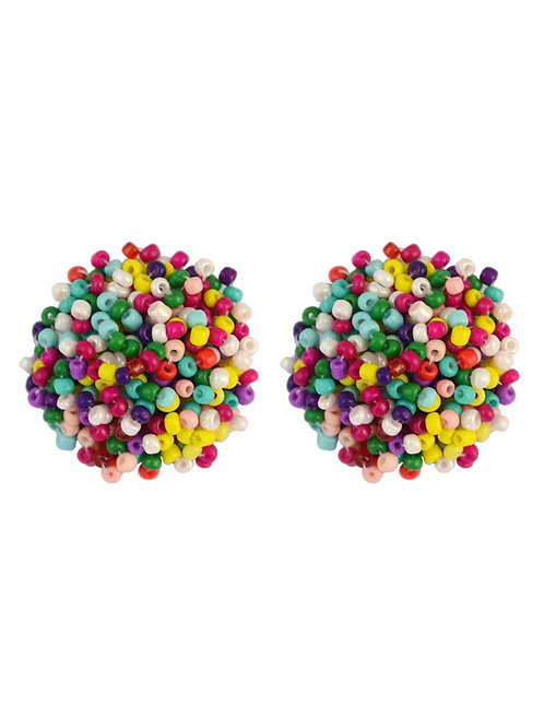 """Beaded Button """"Multi Colored"""" Earrings"""