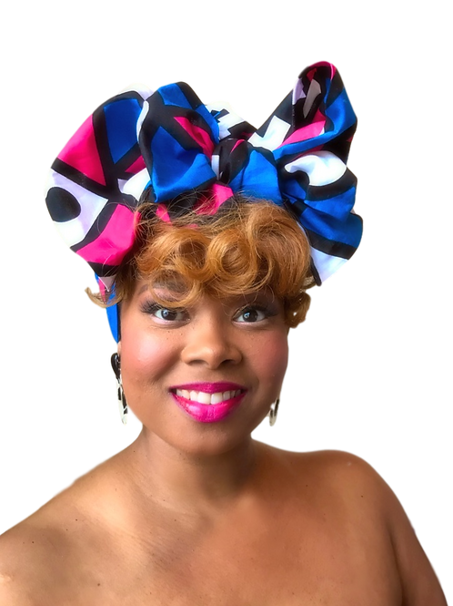 African Print Headwrap in Sacred Geometry/Hot Pink, Blue, White, Black