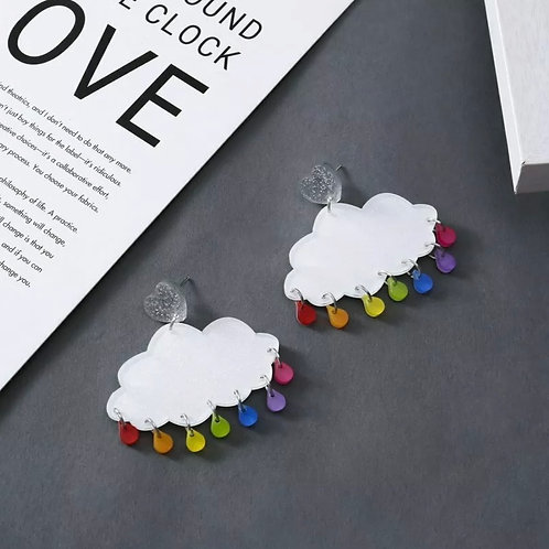 """No Rain in These Clouds""  Acrylic Earrings"