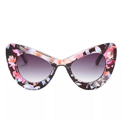 """Floral Retro"" Cat Eye Sunglasses"