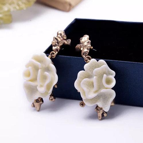 """""""Rose"""" White Glam Earrings"""