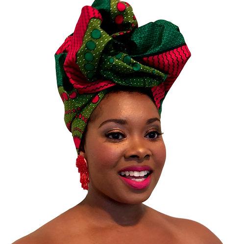 """Brave"" Vivid Pink & Green Print Head Wrap"