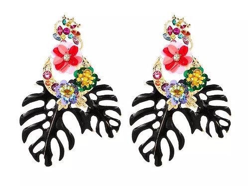 """Be Leaf"" Black Cluster Dangle  Earrings"