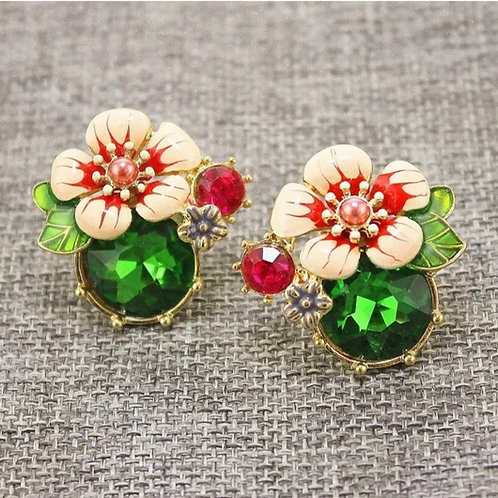 """""""Give Me Flowers"""" Green Studs"""