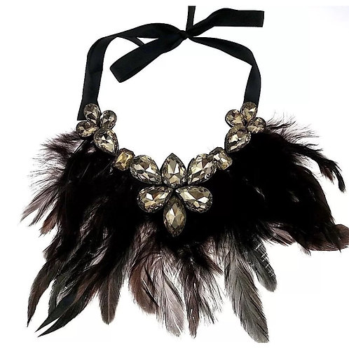 """""""Feathery Wings"""" Brown Statement Necklace"""