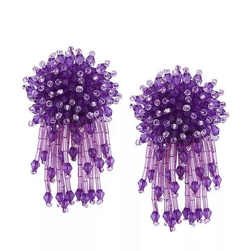 """""""Dazzling"""" Purple Beaded Earrings"""