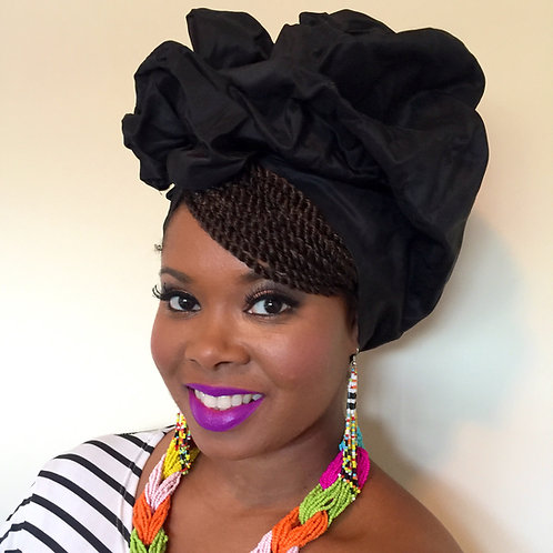 """Black Beauty"" Silk Headwrap"