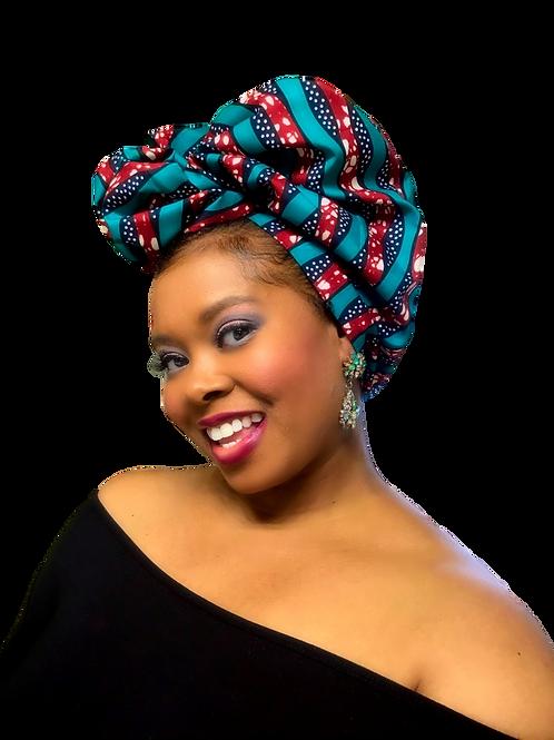 """""""Ocean"""" Turquoise, Burgundy-Brown, Ivory  African Print Head Wrap"""
