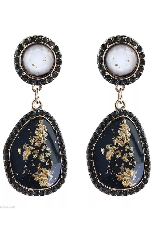 """Marble"" Black & Gold Glam Earrings"