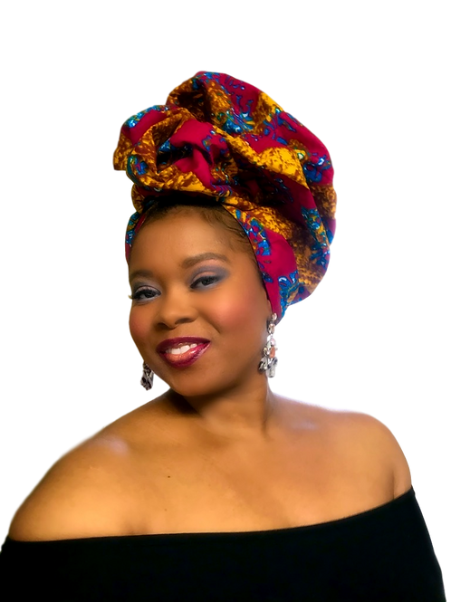 """Splash"" African Print Head WrapVibrant Magenta, Turquoise, & Gold"