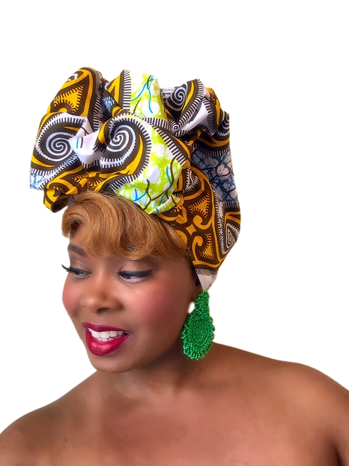 """African Print Headwrap in Rich Gold & Denim"