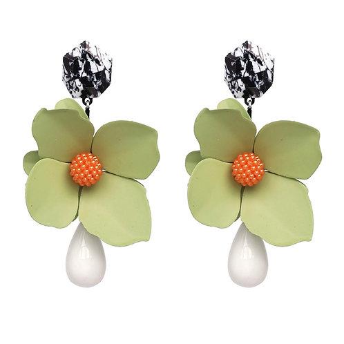 """Perfect Petal"" Green Oversized Dangle Earrings"
