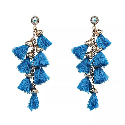 """Celebration"" Vivid Blue Dangle & Fringe Earrings"