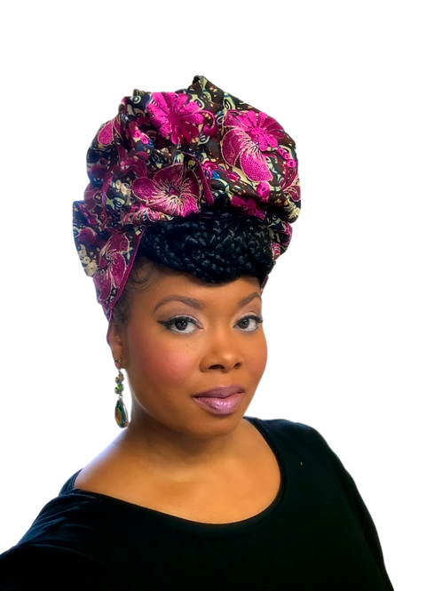 """""""Orchard"""" Embroidered African Print Headwrap"""