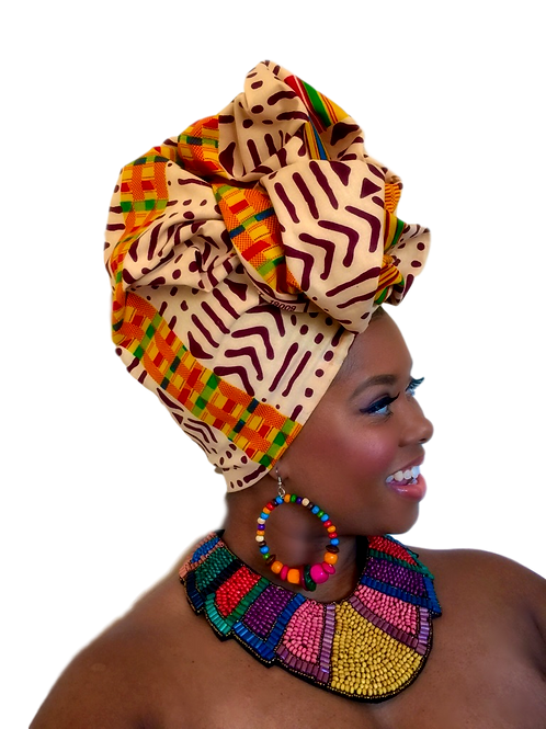 Mixed Tribal African Print Head Wrap
