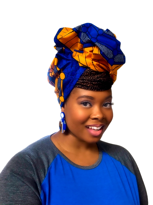 """Sunshine"" Royal Blue, Orange, and White African Print Head Wrap"