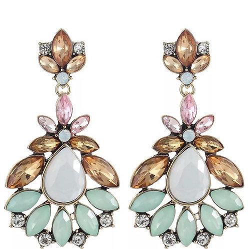 """Pink & Green"" Glam Earrings"