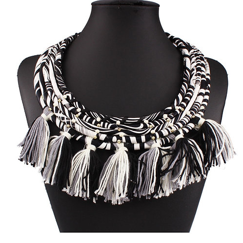 """Tribal Fantacy"" Black & White Fringe Necklace"