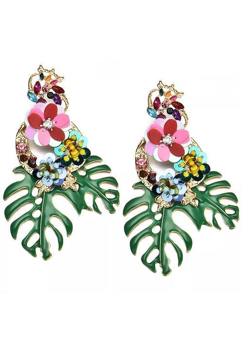 """Be Leaf"" Green Cluster Dangle  Earrings"