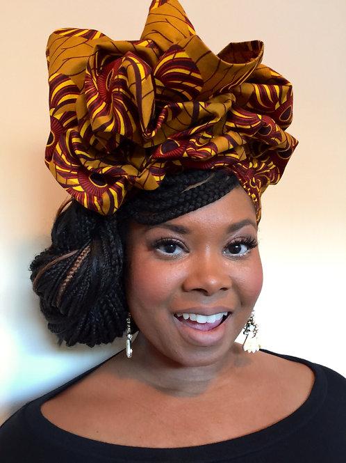 """Neutral Swirl""African Print Head Wrap"
