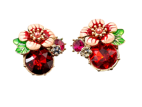 """""""Give Me Flowers"""" Red Studs"""
