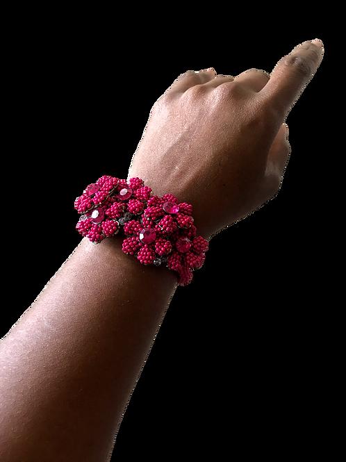 """""""Floral in Fuchsia"""" Cuff Bracelet"""