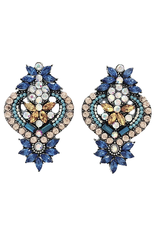 """Enchanted"" Blue & Rose Gold Cluster Earrings"