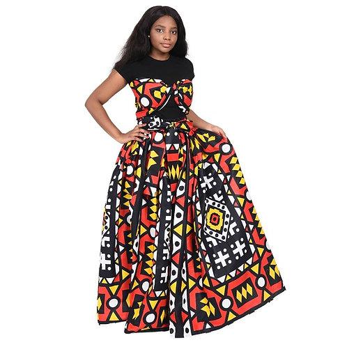 """Imani""  Long Elastic Waist Tie Front Skirt"