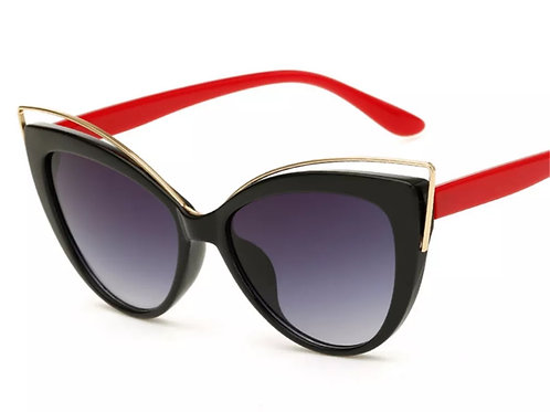 """Retro Lady"" Red & Black Sunglasses"