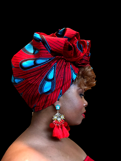 """""""Red & Turquoise"""" African Print Head Wrap"""
