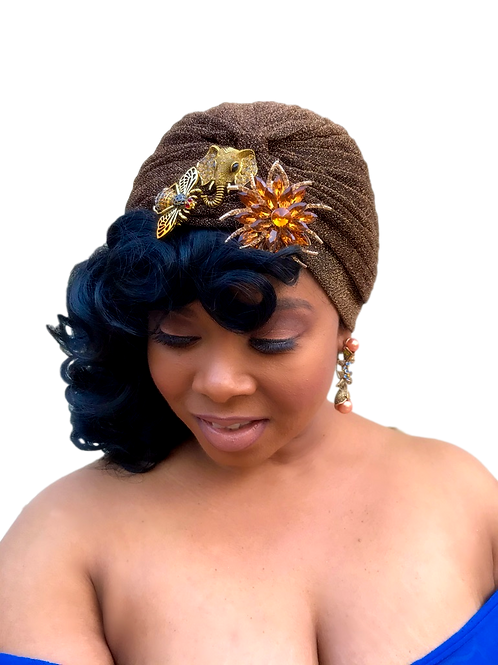 """Chocolate Bliss"" Chocolate Shimmer Turban"