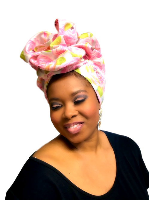 """""""Pink Roses""""  Head Wrap"""
