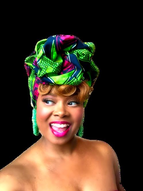 """African Print Headwrap in Pink & Green Pastures"