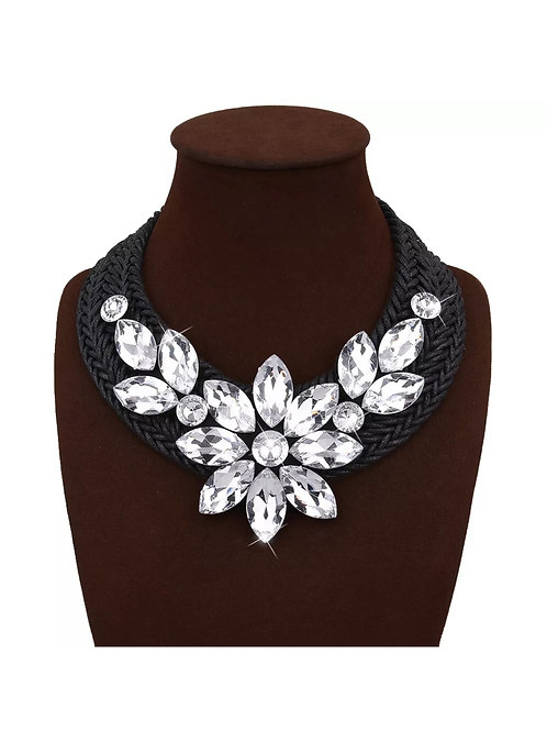 """""""Woven Woman"""" Clear Glam Statement Necklace"""