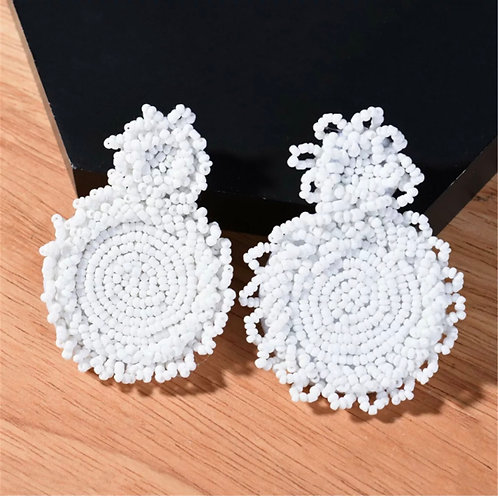 """Circumference"" White Beaded Earrings"
