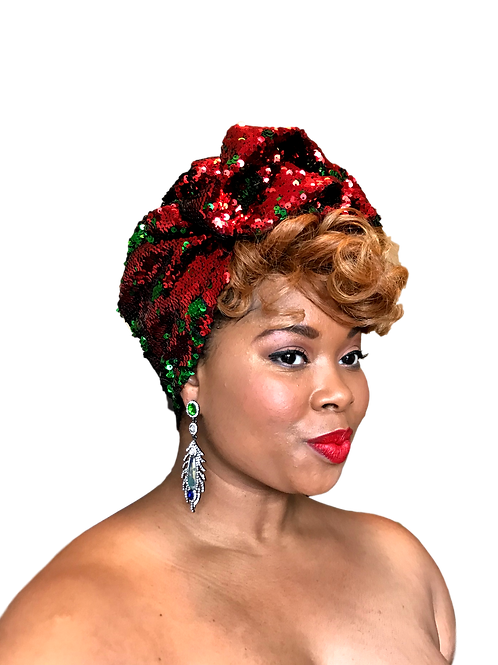 Holiday Sequin Crown Red & Green