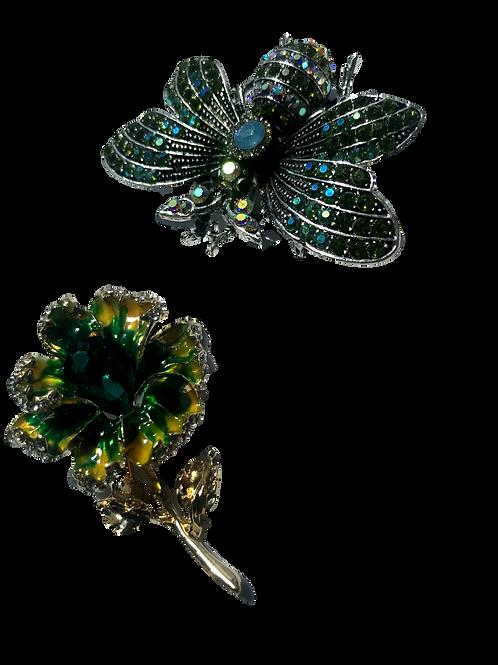 """Butterflies & Roses"" Rhinestone Brooches"