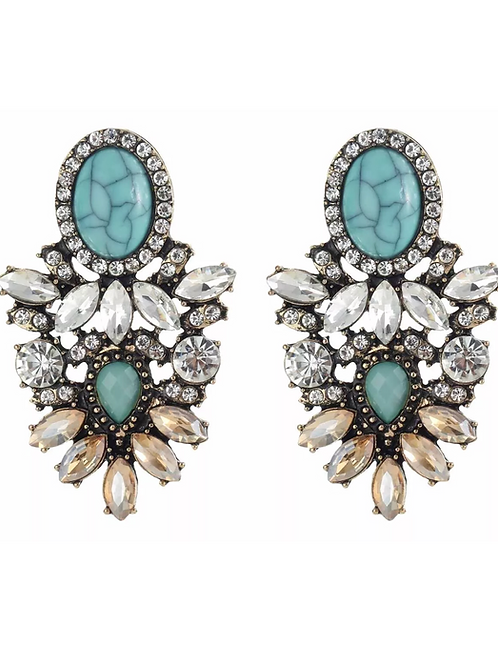 """Tropical Glam"" Turquoise Cluster Earrings"