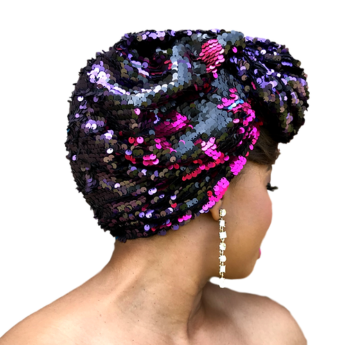 """Swirl"" Black, Purple, Teal Stretch Sequin Head Wrap"