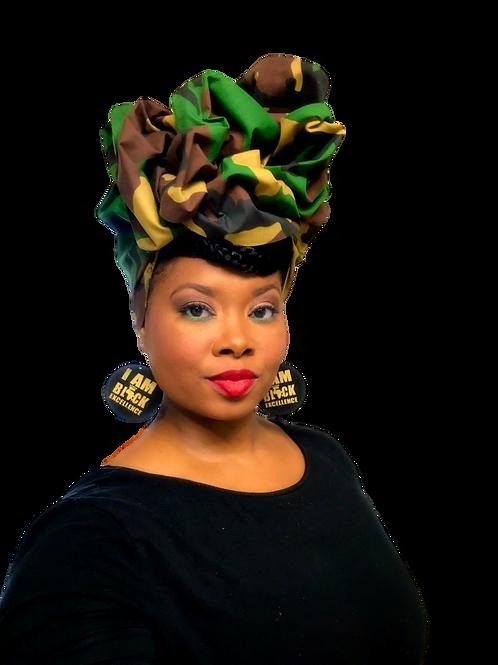 """Freedom"" Camo African Print Headwrap"